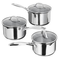 Stellar S7A1D 7000 3 Piece Induction Compatible Sauce Pan Set