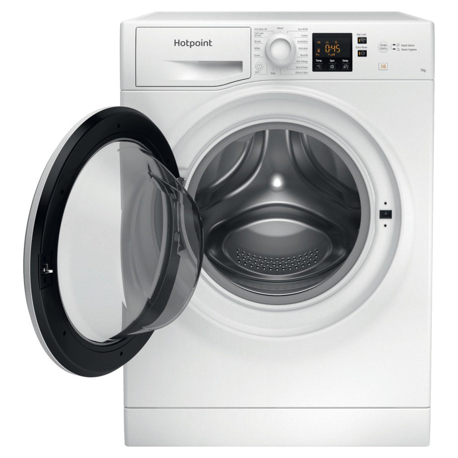 Hotpoint NSWF742UWUKN 7kg washing machine in white - Large porthole door for loading appliance
