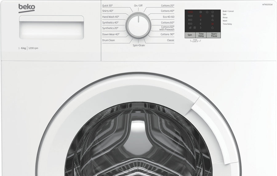Beko WTK62051W 6kg washing machine with 1200rpm spin speed. Slim depth and 15 wash programmes.
