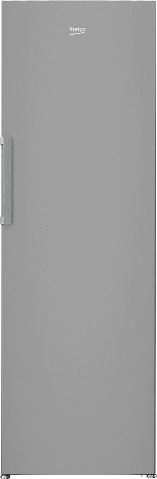 Beko LRSP3685 Freestanding tall larder fridge in stainless steel with a reversible door.