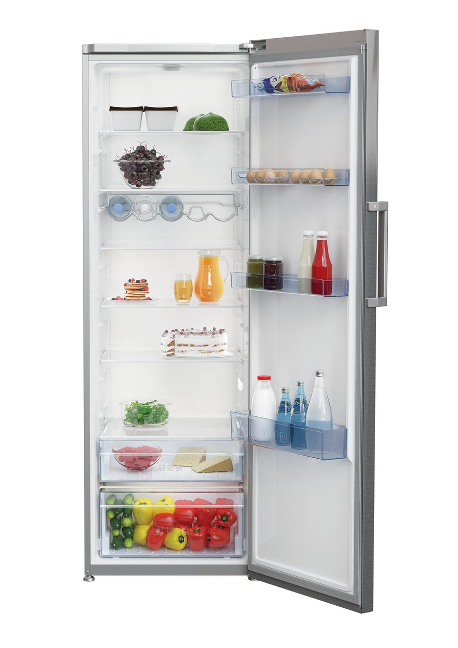 Beko LRSP3685 Freestanding tall larder fridge in stainless steel with a reversible door. 6 freezer shelves, chrome wire wine rack and a large salad crisper.