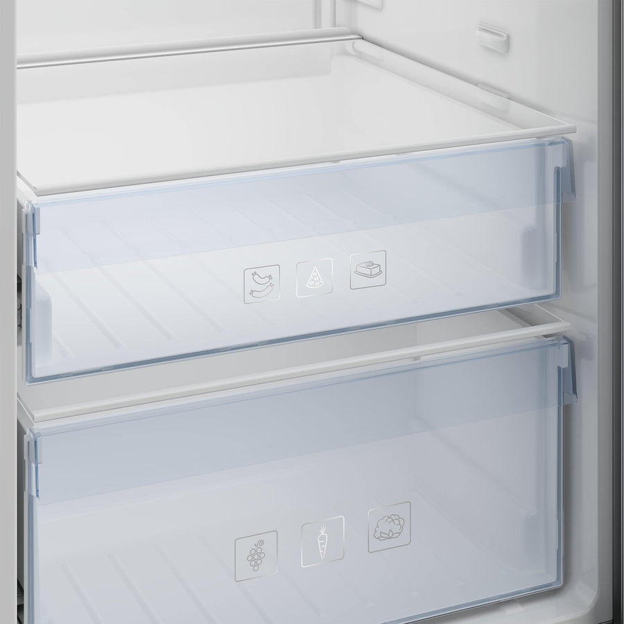 Beko LRSP3685 large salad crisper and chiller compartment.