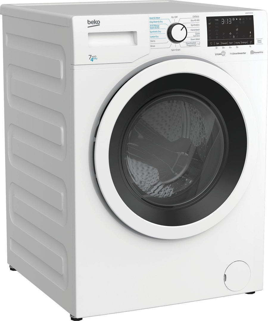 Beko WDER7440421W Freestanding 7kg/4kg washer dryer in white with large porthole door and LED display.