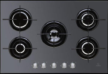 Indesit IPG751SBK 5 Burner Stainless Steel Glass Gas Hob