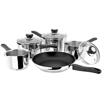 Judge JLC1 Platina Vented 5 Piece Saucepan Set, Stainless Steel RRP £149 - Now £79