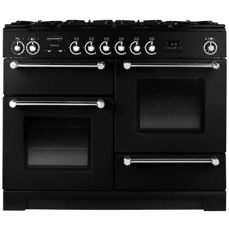 Rangemaster KCH110DFFBL/C Kitchener 110cm Dual Fuel Range Cooker in Black