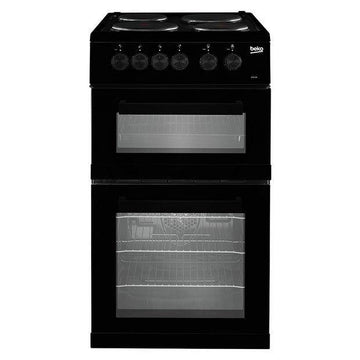 Beko KD533AK 50cm electric cooker with solid plate hob in black.