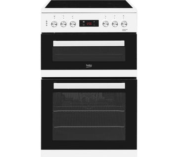 Beko KDC653W 60cm double oven electric cooker with ceramic hob in white.