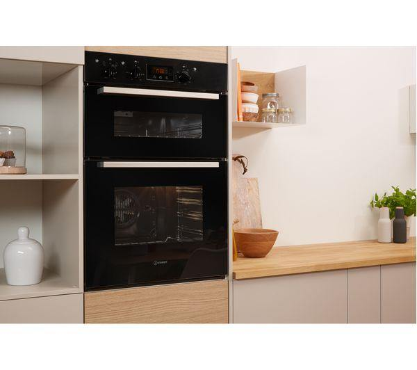 Indesit Aria IDD6340BL Built In Double Oven - Black - A/A Rated