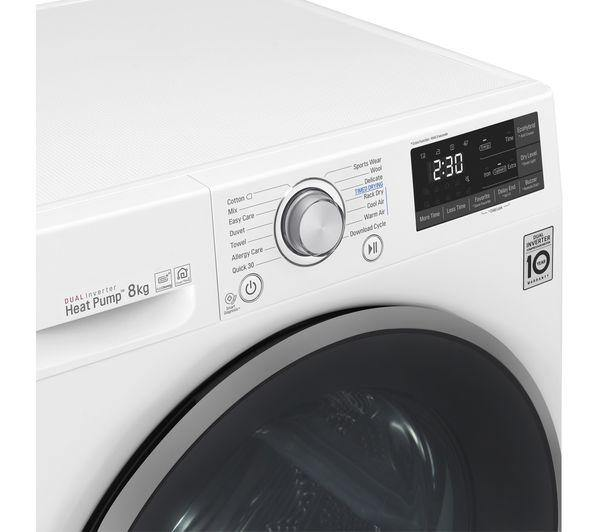 LG FDJ608W WiFi-enabled 8 kg Heat Pump Tumble Dryer - White