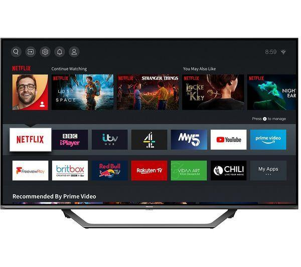 Hisense 65AE7400FTUK (2020) LED HDR 4K Ultra HD Smart TV, 65 inch with Freeview Play, Black