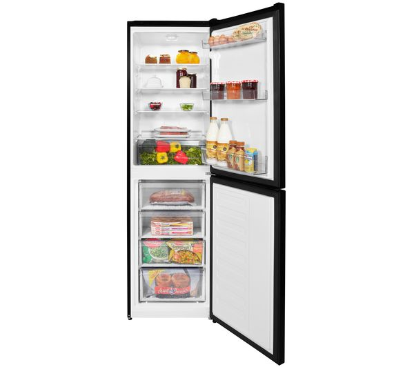Beko CSG3582B 50/50 freestanding fridge freezer in black.