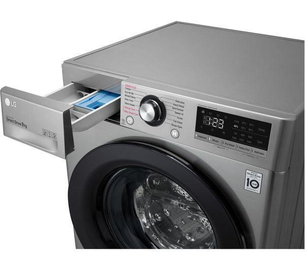LG F4V310SSE 10.5Kg Washing Machine with 1400 rpm - Silver - Free 5 year parts & labour warranty