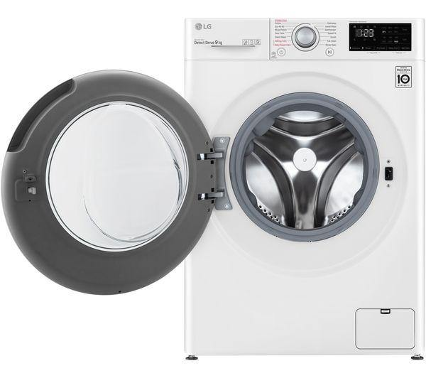 LG F4V309WSE 9kg washing machine with 1400rpm spin speed in white. Featuring DirectDrive technology.