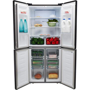 Fridgemaster MQ79394FFB American Fridge Freezer - Black - A+ Rated