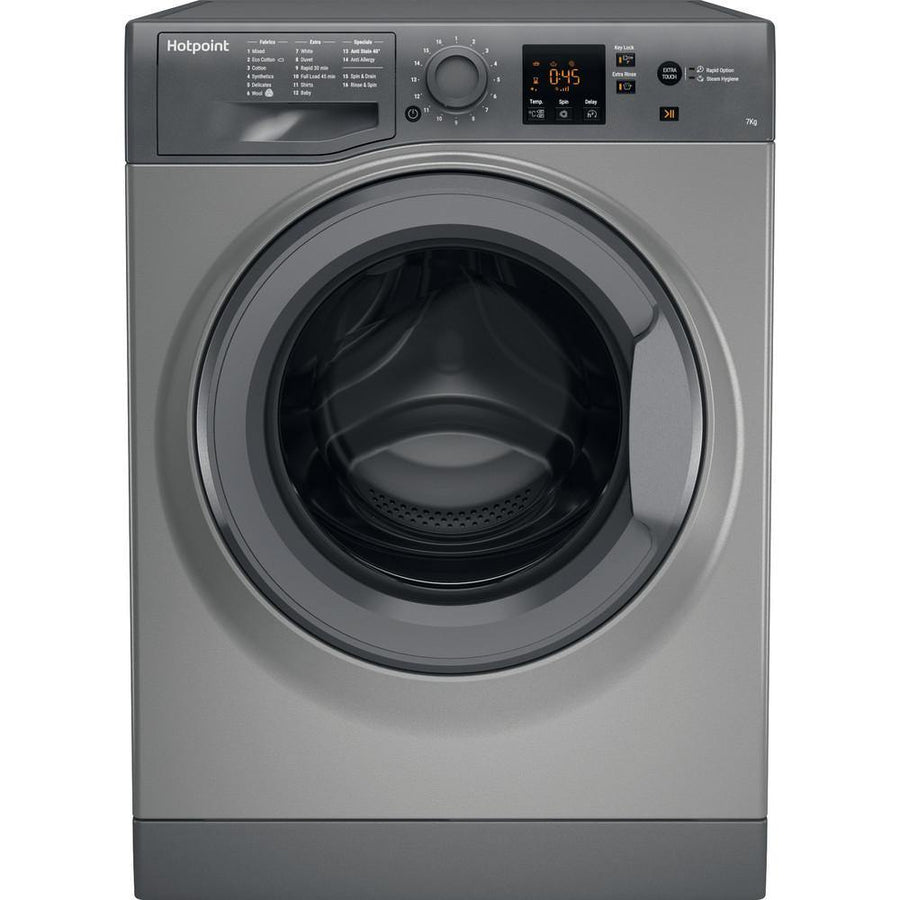 Hotpoint NSWR743UG 7kg 1400 Spin Washing Machine AntiStain Tech In Graphite - A+++ Rated