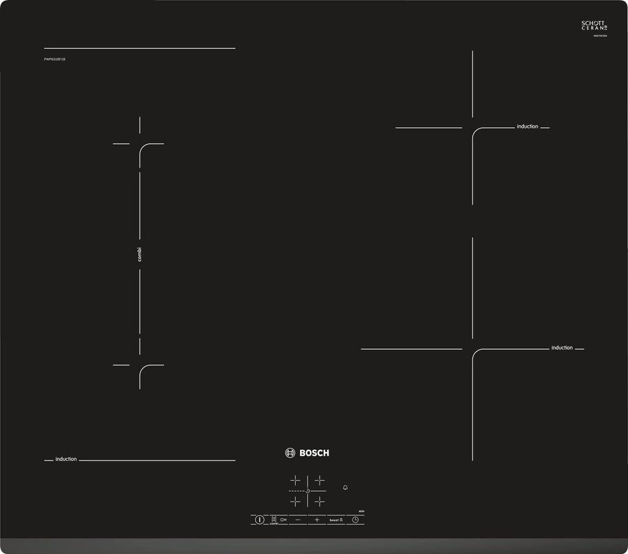 Bosch PWP631BF1B 4 Zone Induction Hob In Black
