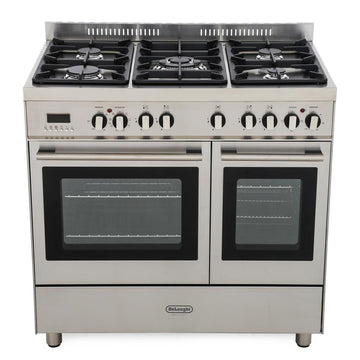 De'Longhi DTR906DF 90cm Professional Twin Cavity Dual Fuel Range Cooker in Stainless Steel
