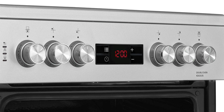 Beko KDC653S 60cm double oven electric cooker in silver. LED display with knob control.