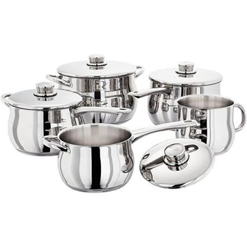 Stellar 1000 S1F4B 5 Piece Deep Saucepan Set with Lids