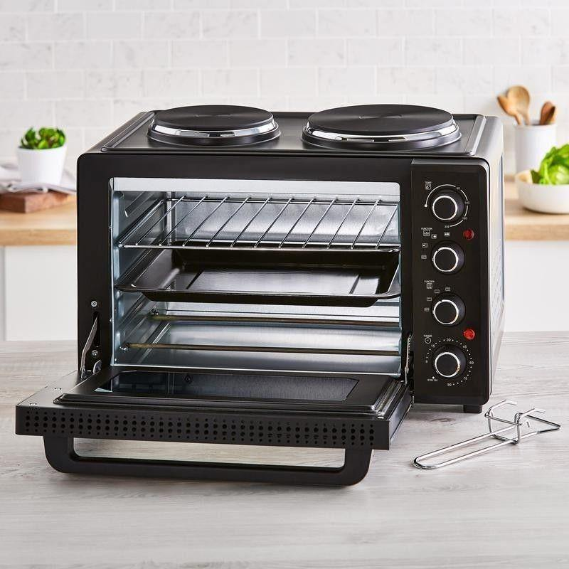 Tower T14044 Table Top Compact Electric Cooker With Hotplate in Black - 32L