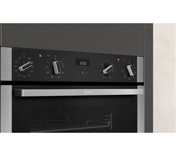 Neff U2ACM7HN0B Pyrolytic Built-In Double Oven, Stainless Steel