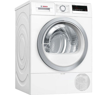 Bosch WTR85V21GB 8kg Heat pump tumble dryer in white.