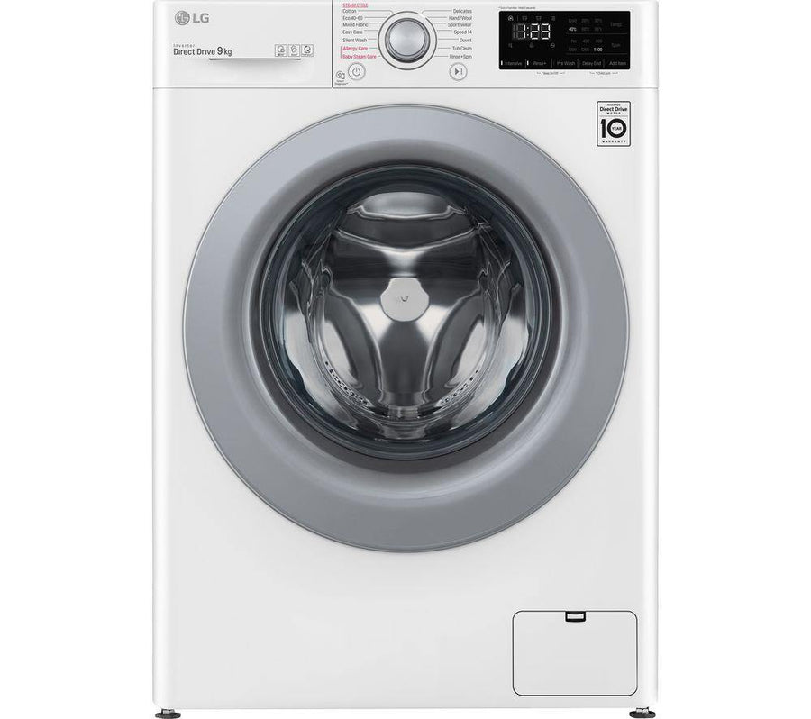 LG F4V309WSE 9Kg Washing Machine with 1400 rpm - White - Free 5 year parts & labour warranty