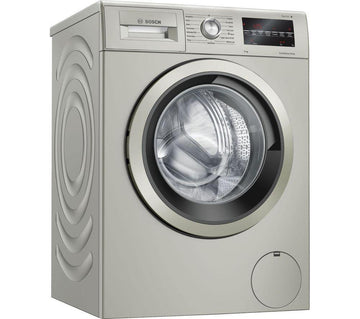 Bosch WAU28TS1GB 9kg washing machine in silver inox. Large porthole loading door and LED display.