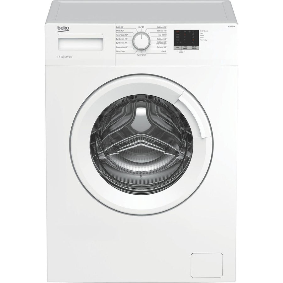 Beko WTK62051W 6kg washing machine with 1200rpm spin speed. This washing machine has a slim depth and 15 wash programmes.