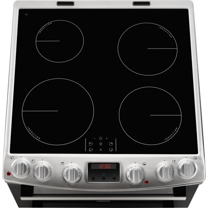 Zanussi ZCI66250XA 60cm electric cooker with induction hob in stainless steel.