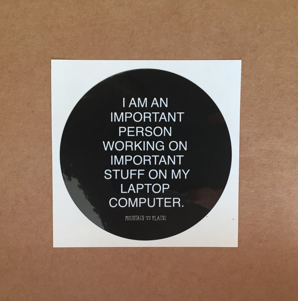 """I AM IMPORTANT"" laptop sticker"