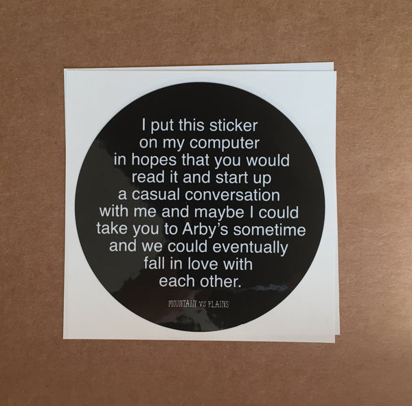 """Start a Coversation With Me"" laptop sticker"