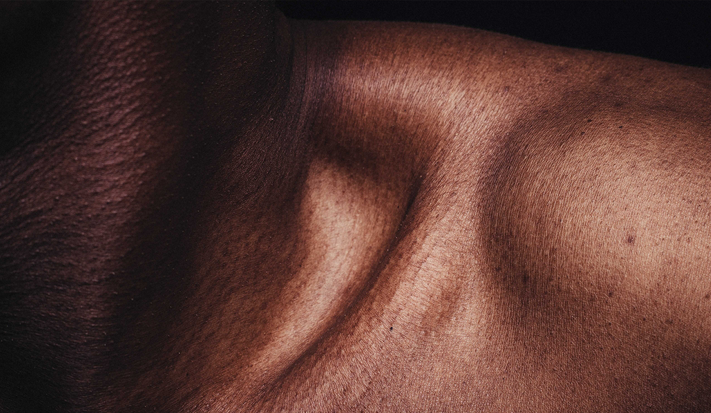 A woman's shoulder, with emphasis on the skin