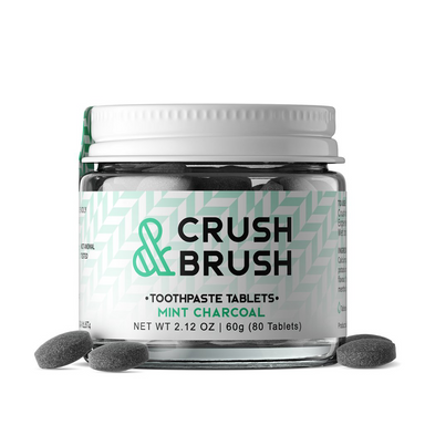 Zero Waste Toothpaste | Crush & Brush | Mint Charcoal | 80 Tablets