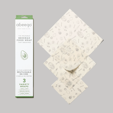 Box of Abeego Beeswax Food Wraps Variety Pack of 3, with a Large, Medium, and Small wrap displayed beside the box.