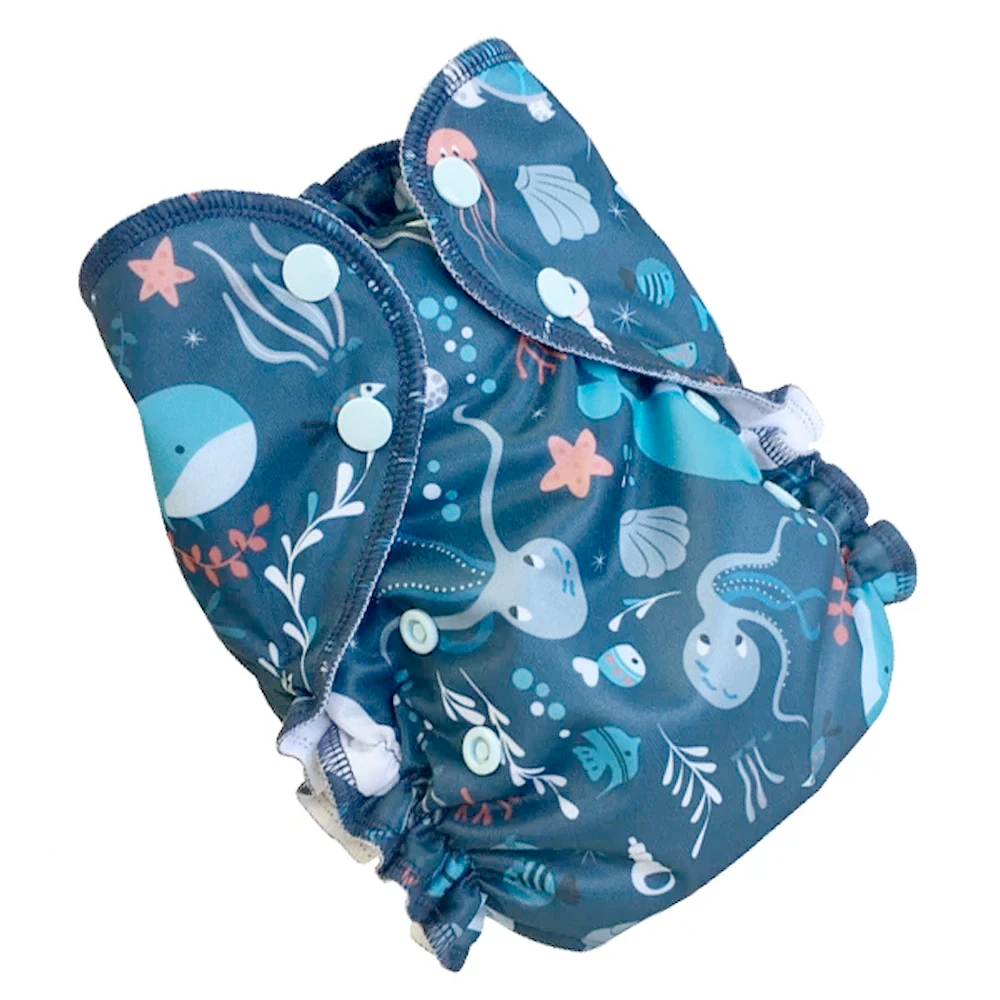 Duo Bamboo Cloth Diaper | Deep Sea | One-Size 6-38lbs