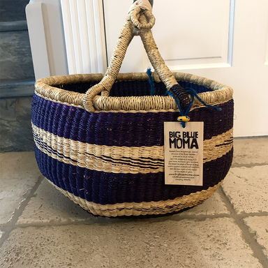 African Bolga Basket | Large Round | Deep Blue & Natural Stripes