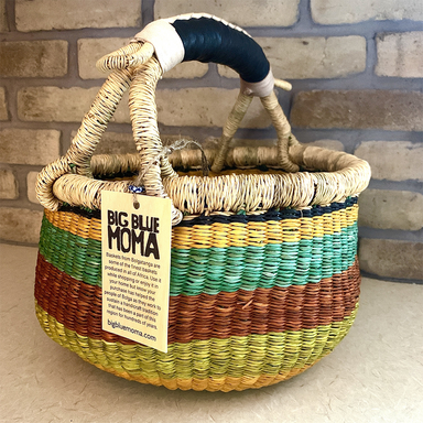 Small Round Basket | Green, Yellow, Turquoise & Orange Stripes