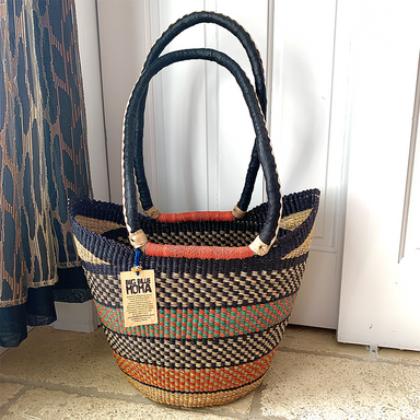 Shoulder Shopper | Large | Orange & Navy Checks