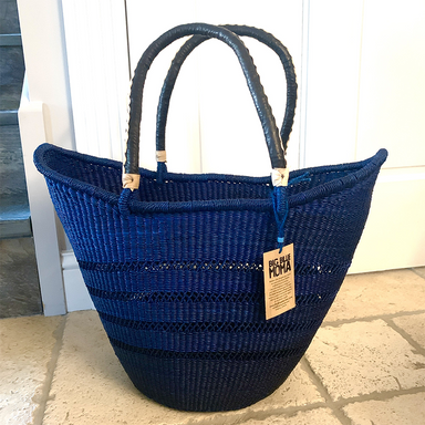 U Shopper Basket | Large | Deep Indigo Lattice Weave