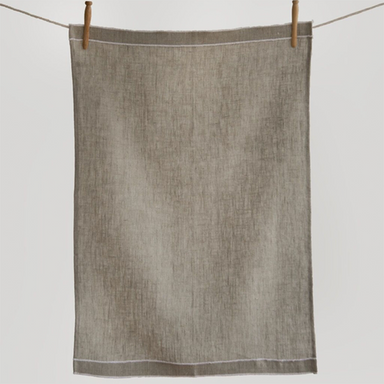 Leonardo Tea Towel | Natural With White Stitch