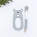 Silicone Teether | Grey Bear | With a Clip