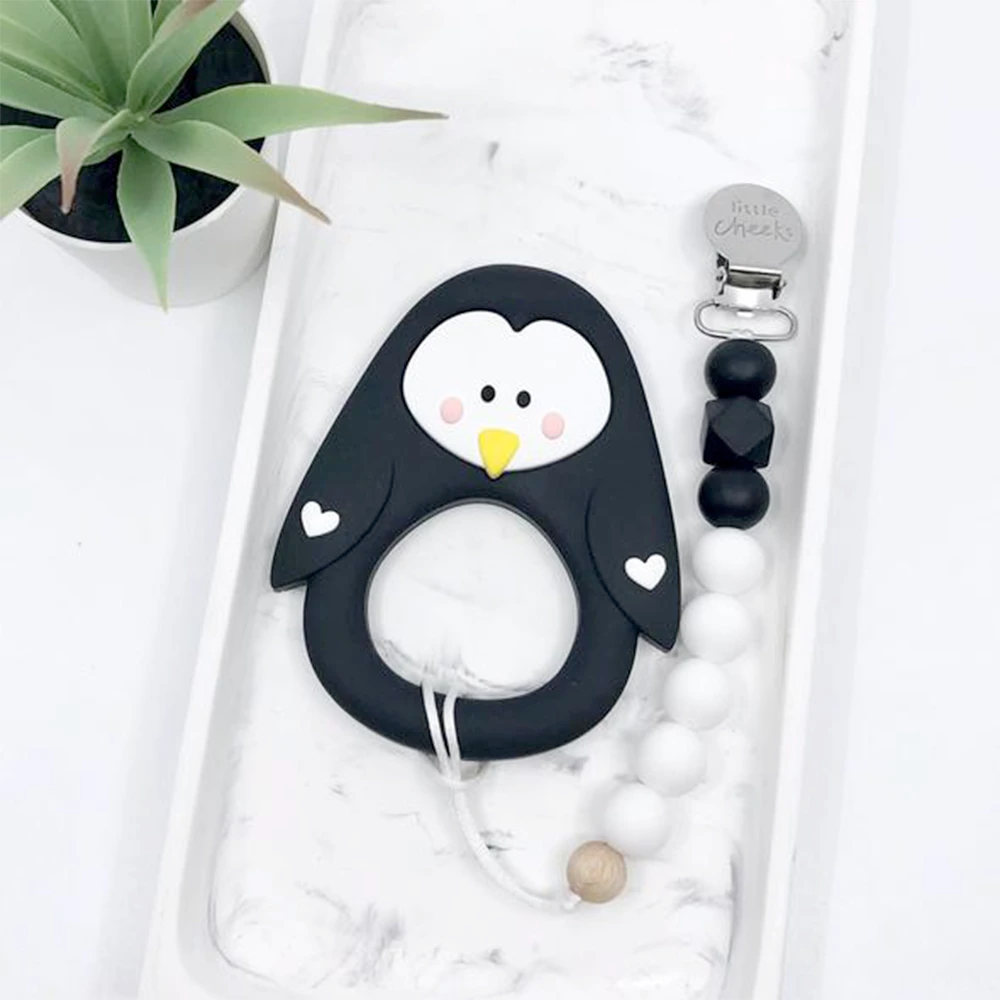 Silicone Teether | Black Penguin | With a Clip