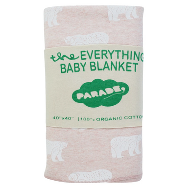 Parade Baby 40-inch square baby blanket with pink and white bear pattern
