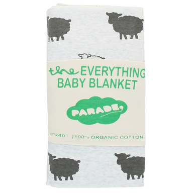 Parade Baby 40-inch square baby blanket with grey sheep pattern