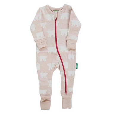 Parade Baby 2-Way Zipper Romper with pink and white Bear pattern