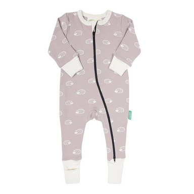 Parade Baby 2-Way Zipper Romper with pink and white Hedgehog pattern