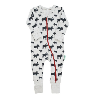 Parade Baby 2-Way Zipper Romper with black and white Moose pattern