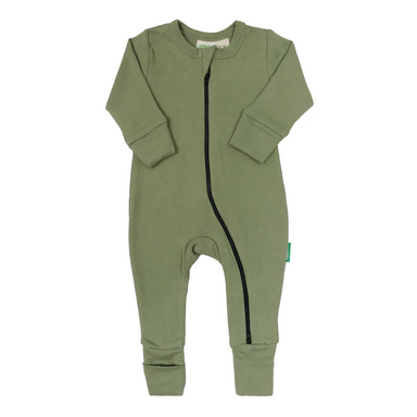 Parade Baby 2-Way Zipper Romper in olive green